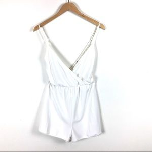 Pants - White romper with lace back details size MEDIUM